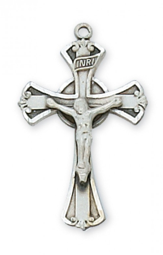 """Sterling Silver Unique Crucifix on an 18"""" Rhodium Plated Chain"""