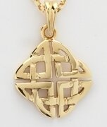"""10kt Gold Medium Square Celtic Knot Pendant and 18"""" 10kt Gold Chain"""