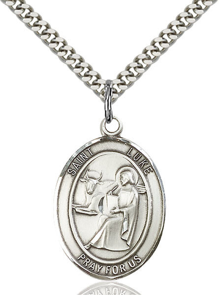 """Sterling Silver St. Luke the Apostle Pendant on a 24"""" Light Rhodium Heavy Curb Endless Chain"""
