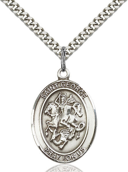 """Sterling Silver St. George Pendant on a 24"""" Light Rhodium Heavy Curb Endless Chain"""
