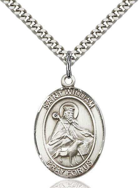 """Sterling Silver St. William of Rochester Pendant on a 24"""" Light Rhodium Heavy Curb Endless Chain"""