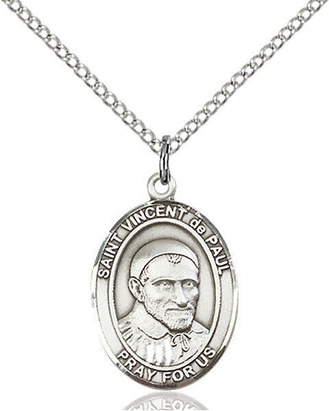 """Sterling Silver St. Vincent de Paul Pendant on an 18"""" Light Rhodium Curb Chain with a Clasp"""