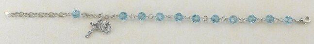 Youth Swarovski Crystal Aqua Round Shaped Rosary Bracelet