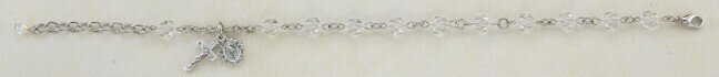 Youth Swarovski Crystal Clear Round Shaped Rosary Bracelet