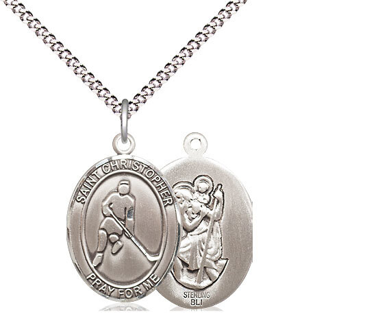 "Sterling Silver St. Christopher Ice Hockey Sports Medal on a 18"" Light Rhodium Chain"
