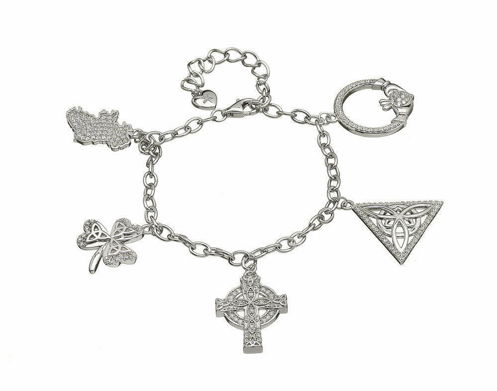 Sterling Silver Irish Charm Bracelet with CZ's