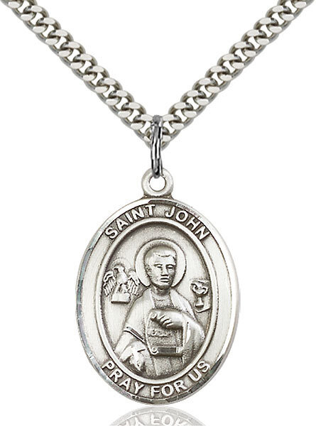 """Sterling Silver St. John the Apostle Pendant on a 24"""" Light Rhodium Heavy Curb Endless Chain"""
