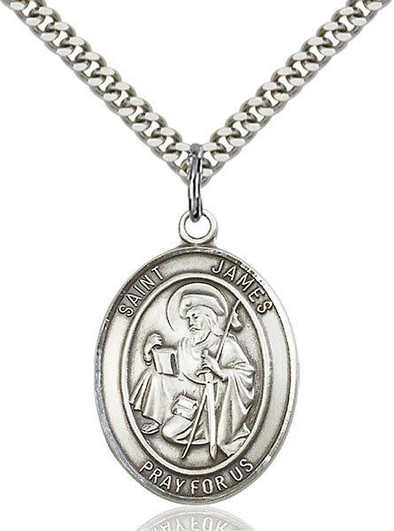 """Sterling Silver St. James the Greater Pendant on a 24"""" Light Rhodium Heavy Curb Endless Chain"""