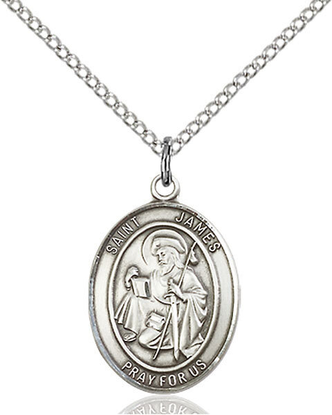 "Sterling Silver St. James the Greater Pendant on an 18"" Light Rhodium Curb Chain with a Clasp"
