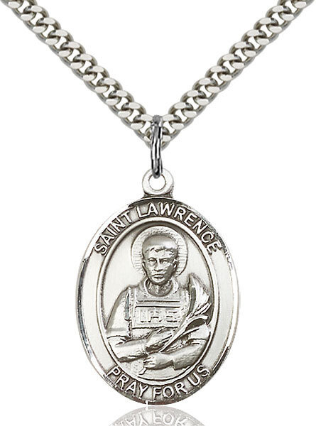 """Sterling Silver St. Lawrence Pendant on a 24"""" Light Rhodium Heavy Curb Endless Chain"""