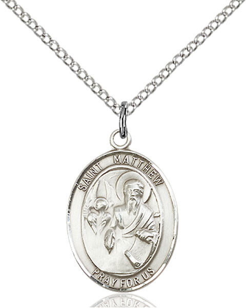 "Sterling Silver St. Matthew the Apostle Pendant on an 18"" Light Rhodium Curb Chain with a Clasp"
