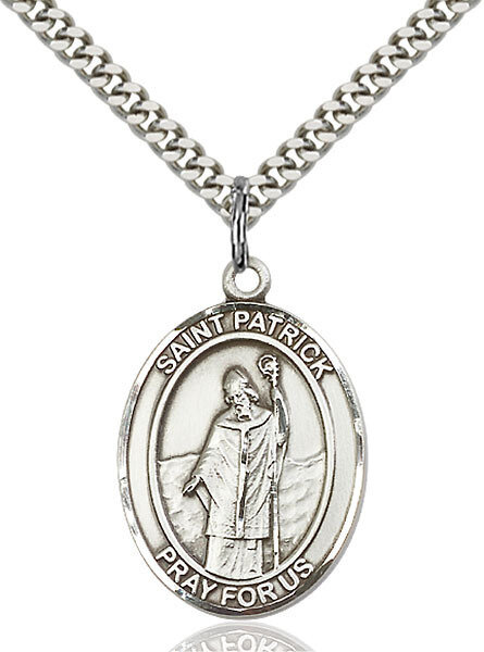 """Sterling Silver St. Patrick Pendant on a 24"""" Light Rhodium Heavy Curb Endless Chain"""