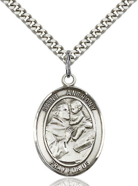 """Sterling Silver St. Anthony of Padua Pendant on a 24"""" Light Rhodium Heavy Curb Endless Chain"""