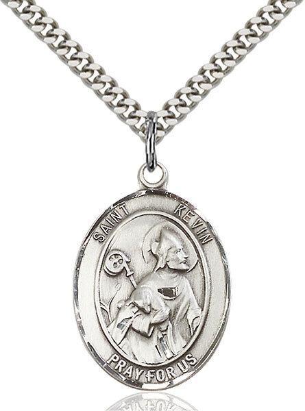 """Sterling Silver St. Kevin Pendant on a 24"""" Light Rhodium Heavy Curb Endless Chain"""