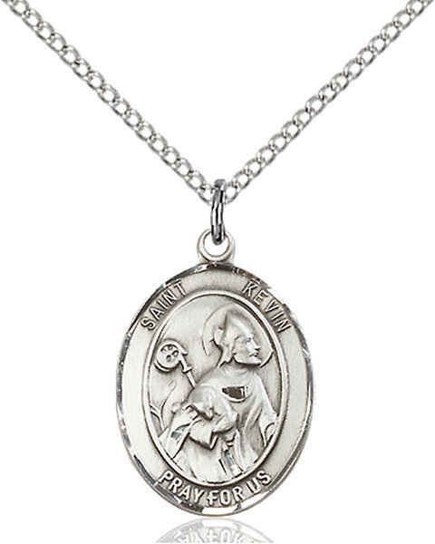 "Sterling Silver St. Kevin Pendant on an 18"" Light Rhodium Curb Chain with a Clasp"