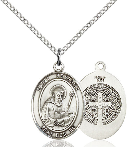 "Sterling Silver St. Benedict Pendant on an 18"" Light Rhodium Curb Chain with a Clasp"
