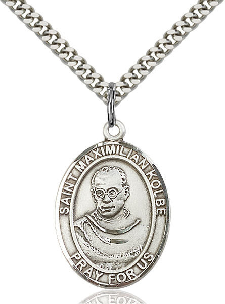 "Sterling Silver St. Maximilian Kolbe Pendant on a 24"" Light Rhodium Heavy Curb Endless Chain"