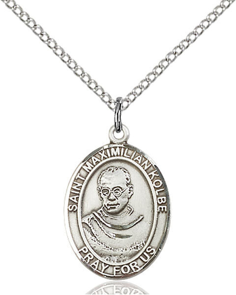 """Sterling Silver St. Maximilian Kolbe Pendant on an 18"""" Light Rhodium Curb Chain with a Clasp"""