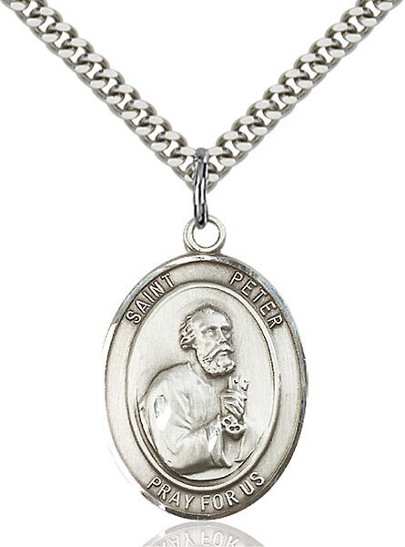 """Sterling Silver St. Peter the Apostle Pendant on a 24"""" Light Rhodium Heavy Curb Endless Chain"""