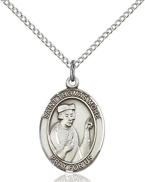 "Sterling Silver St. Thomas More Pendant on an 18"" Light Rhodium Curb Chain with a Clasp"