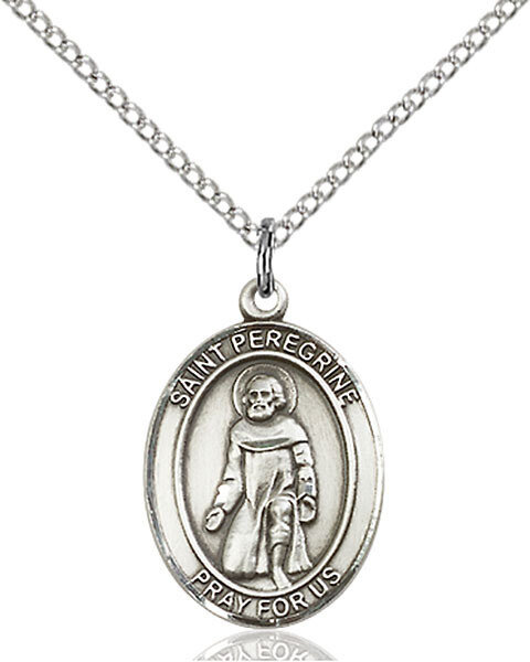 """Sterling Silver St. Peregrine Pendant on an 18"""" Light Rhodium Curb Chain with a Clasp"""