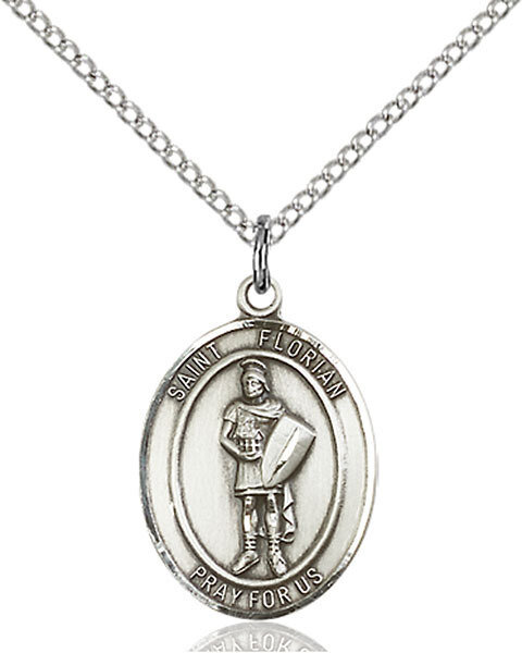 "Sterling Silver St. Florian Pendant on an 18"" Light Rhodium Curb Chain with a Clasp"