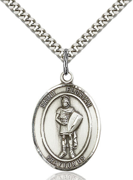 """Sterling Silver St. Florian Pendant on a 24"""" Light Rhodium Heavy Curb Endless Chain"""