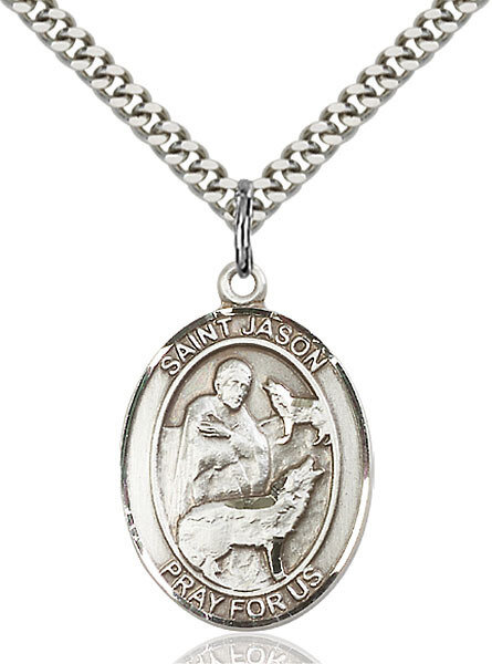 """Sterling Silver St. Jason Pendant on a 24"""" Light Rhodium Heavy Curb Endless Chain"""