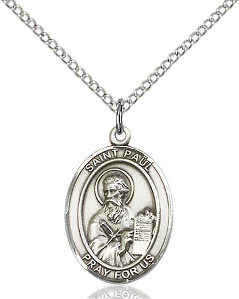 "Sterling Silver St. Paul the Apostle Pendant on an 18"" Light Rhodium Curb Chain with a Clasp"