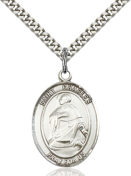 "Sterling Silver St. Charles Borromeo Pendant on a 24"" LIght Rhodium Heavy Curb Endless Chain"