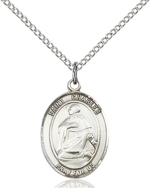 "Sterling Silver St. Charles Borromeo Pendant on an 18"" Light Rhodium Curb Chain with a Clasp"