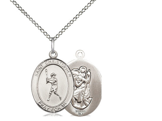 "Sterling Silver St. Christopher Baseball Sports Medal on a 18"" Light Rhodium Chain"