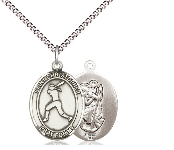 """Sterling Silver St. Christopher Softball Sports Medal on a 18"""" Light Rhodium Chain"""