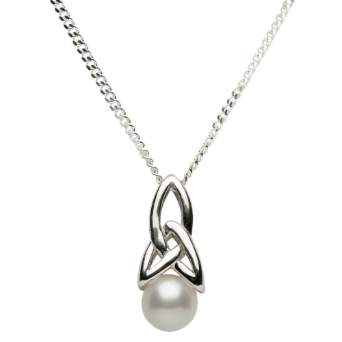 """Sterling Silver Celtic Pearl Pendant & 18"""" Sterling Silver Chain"""