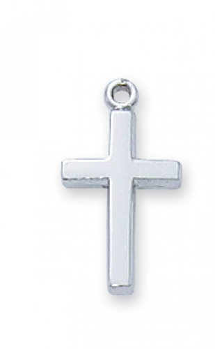 """Sterling Silver Mini Cross on a 16"""" Rhodium Plated Chain"""