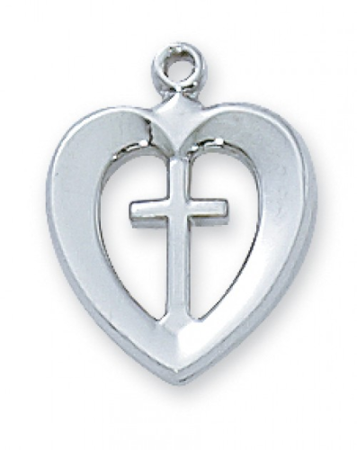 "Sterling Silver Cross in a Heart on an 18"" Rhodium Plated Chain"