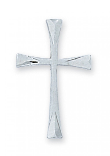 """Sterling Silver Die Cut Cross on an 18"""" Rhodium Plated Chain"""