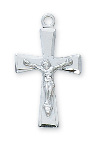 """Sterling Silver Flared Crucifix on an 18"""" Rhodium Plated Chain"""