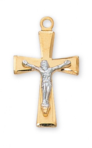 """Gold Plated Two-Tone Sterling Silver Crucifix on an 18"""" Gold Plated Chain"""