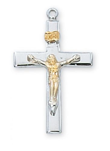 """Sterling Silver Two-Tone Gold Plated Crucifix on an 18"""" Rhodium Plated Chain"""