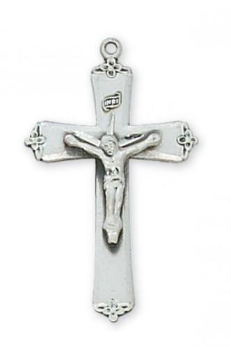 """Sterling Silver Fancy Tipped Crucifix on an 18"""" Rhodium Plated Chain"""