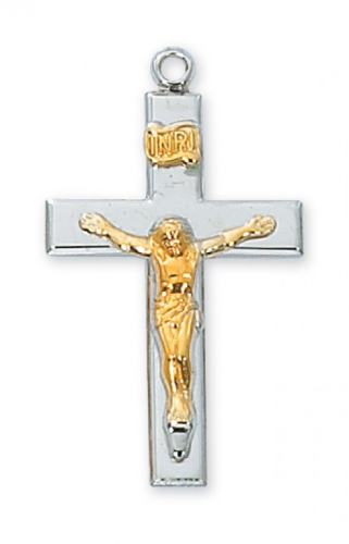 """Sterling Silver Two-Tone Crucifix on an 18"""" Rhodium Plated Chain"""