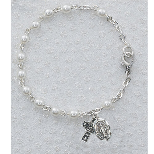 Youth Pearl Rosary Bracelet with Celtic Cross