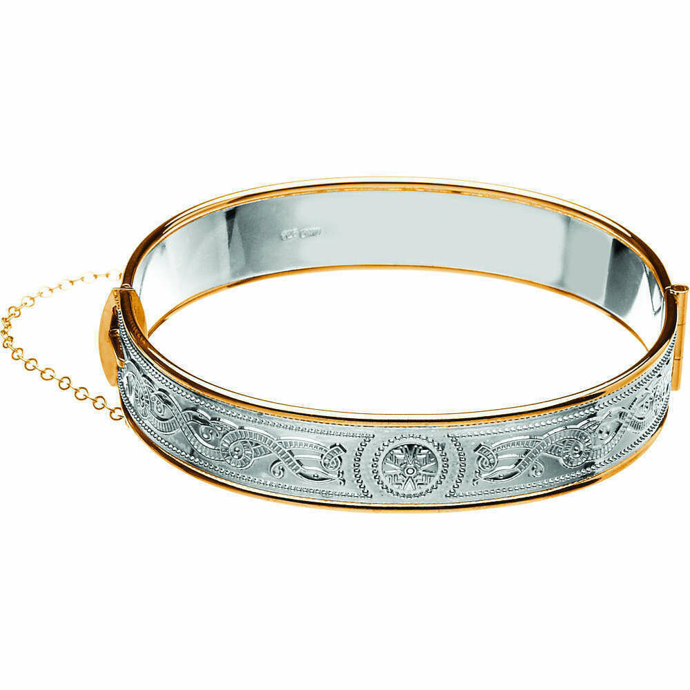 Celtic Warrior® Sterling Silver Bangle with Rolled Gold Trims