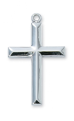 "Sterling Silver Beveled Cross on a 24"" Rhodium Plated Chain"