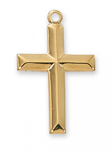 "Gold Plated Beveled Cross on an 18"" Gold Plated Chain"