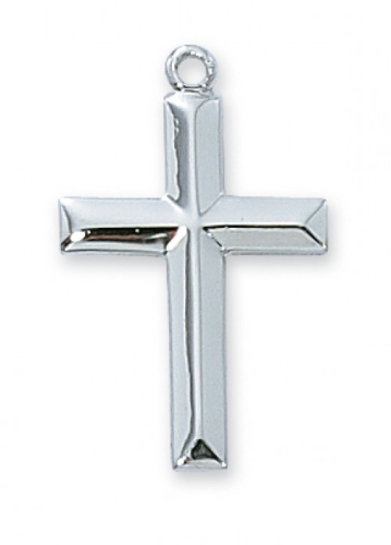 "Sterling Silver Curved Cross on an 18"" Rhodium Plated Chain"