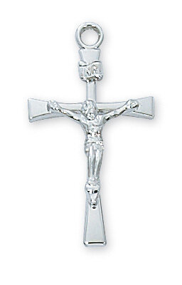 "Sterling Silver Crucifix on an 18"" Rhodium Plated Chain"