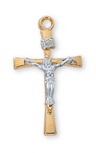 "Gold Plated Two-Tone Sterling Silver Thin Crucifix on an 18"" Gold Plated Chain"