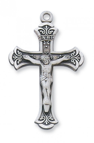 "Sterling Silver Fancy Crucifix on an 18"" Rhodium Plated Chain"